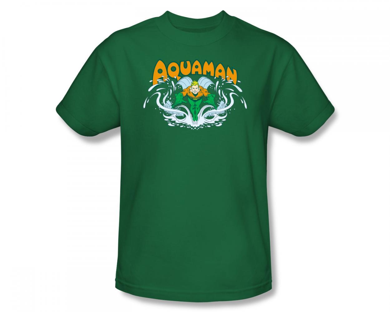 Image of Aquaman - Aquaman Splash Slim Fit Adult T-Shirt In Kelly Green