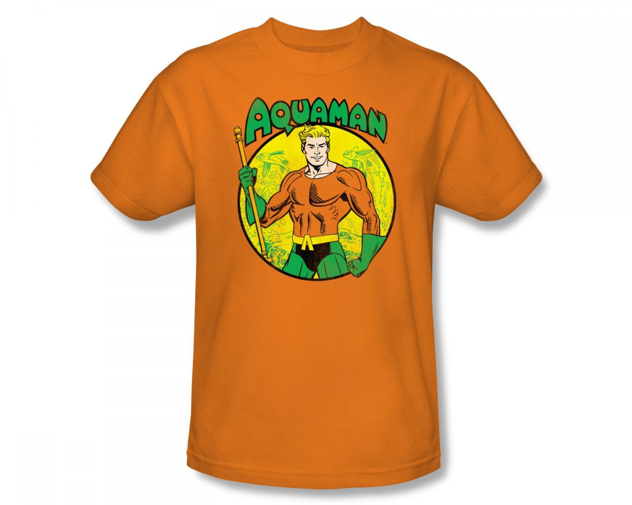 Image of Aquaman - Aquaman Slim Fit Adult T-Shirt In Orange
