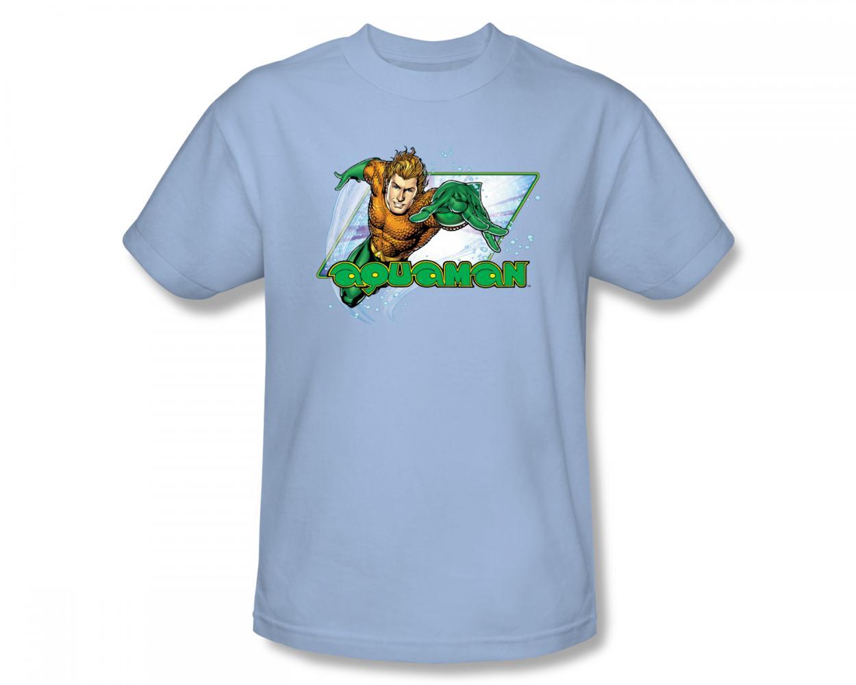 Image of Aquaman - Aquaman Slim Fit Adult T-Shirt In Light Blue