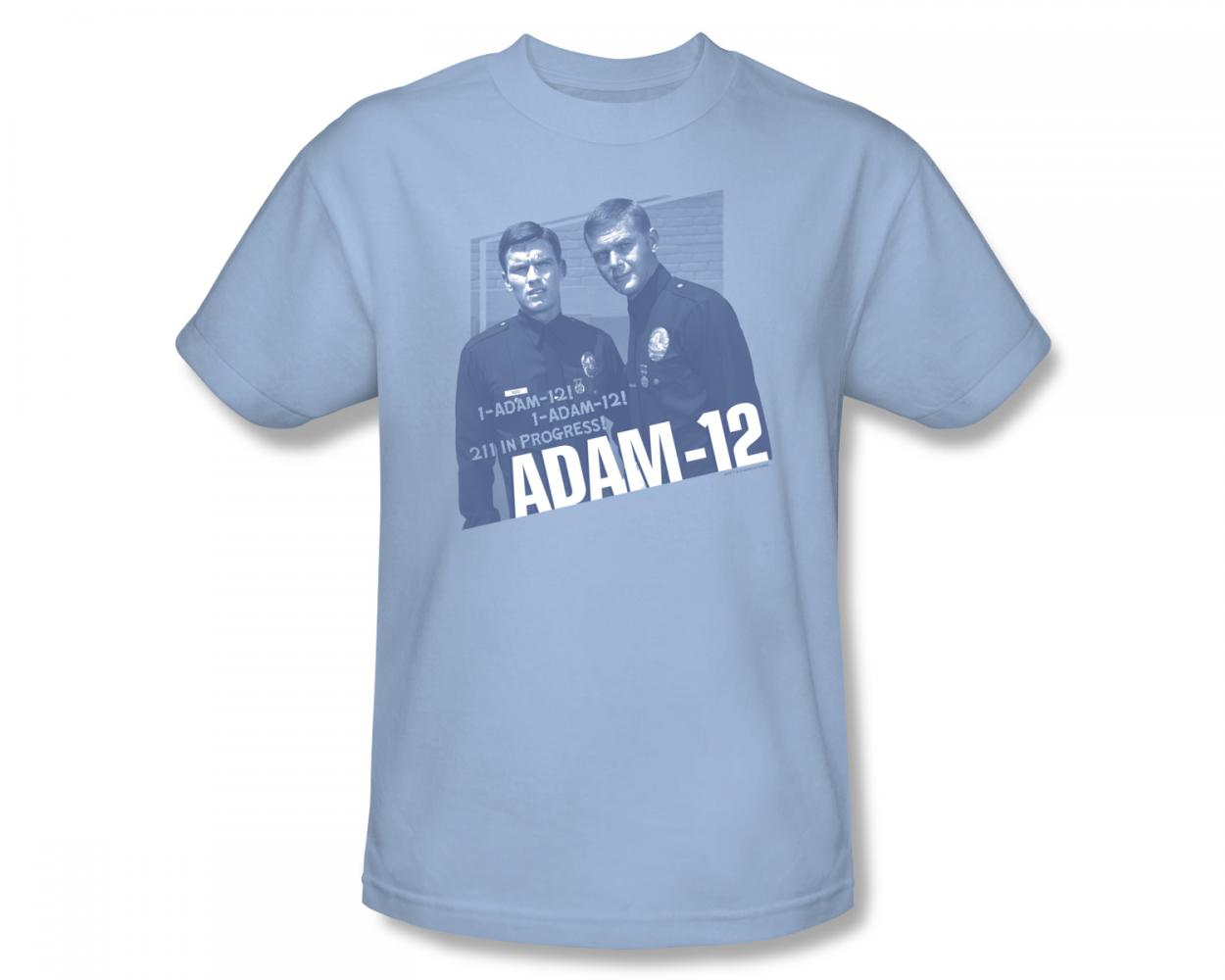 Image of Adam-12 - Radio Call Slim Fit Adult T-Shirt In Light Blue