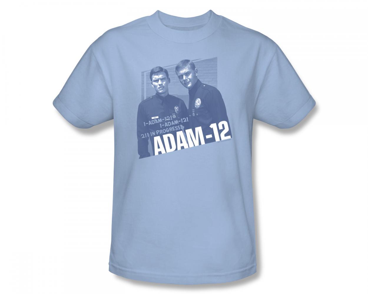 Image of Adam-12 - Radio Call Slim Fit Adult T-Shirt In Light Blue