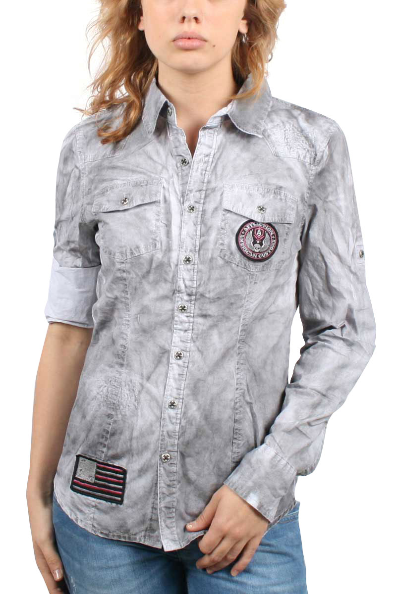 Image of Affliction Black Premium - Womens Hell On Wheels Long Sleeve Woven In White