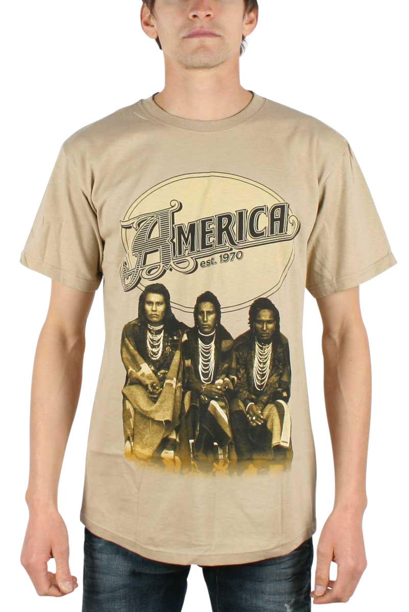 Image of America - Logo Mens T-Shirt In Tan