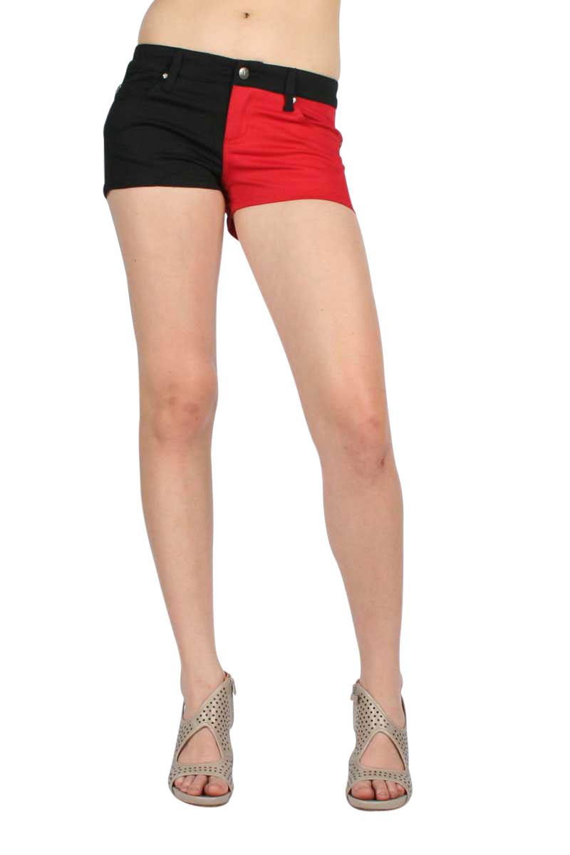 Tripp NYC Split Leg Shorts in Black/Red