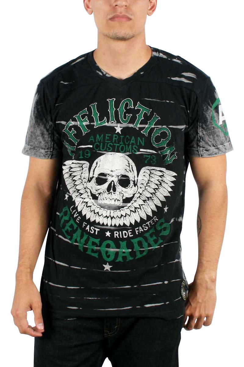 Image of Affliction - Mens Ac Renegades SS V-Neck T-Shirt In Black Blind Wash