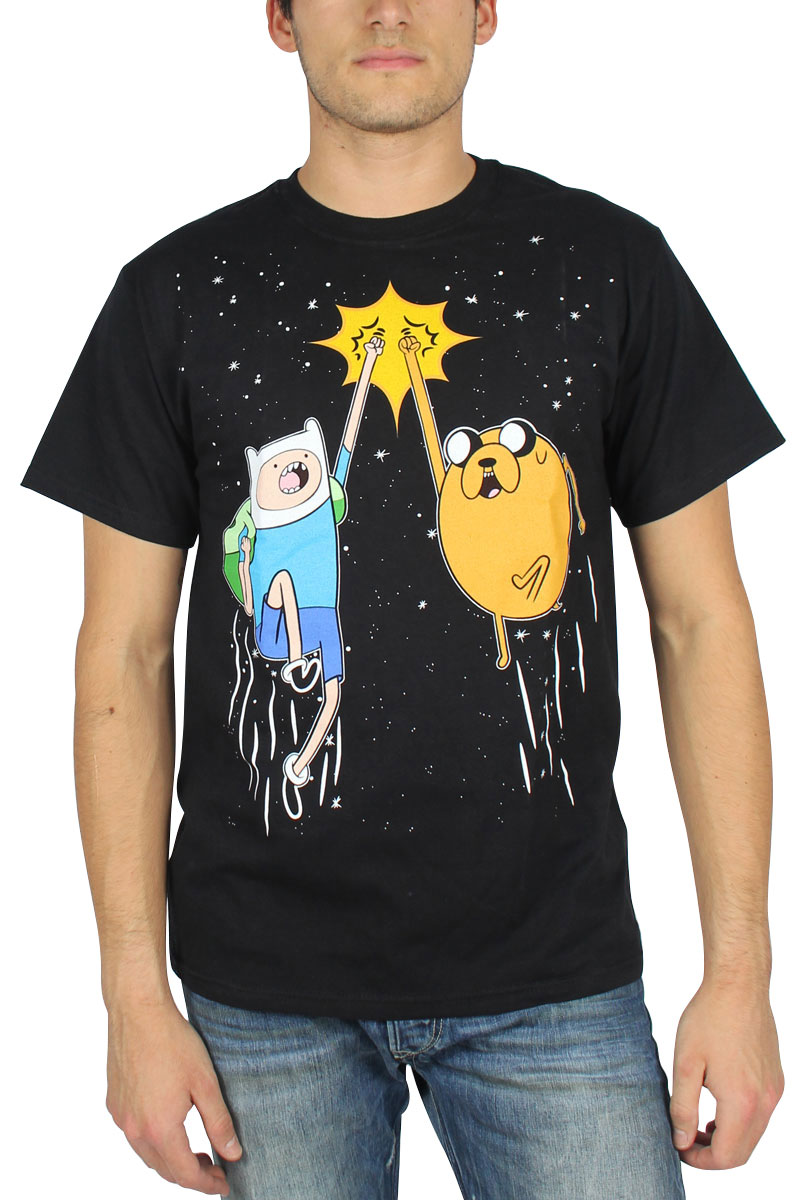 Image of Adventure Time - Mens Space Fist Bump T-Shirt in Black