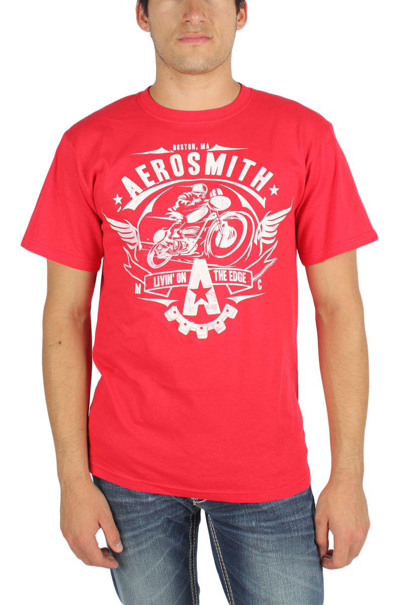 Image of Aerosmith - Mens Livin On The Edge T-Shirt in Red