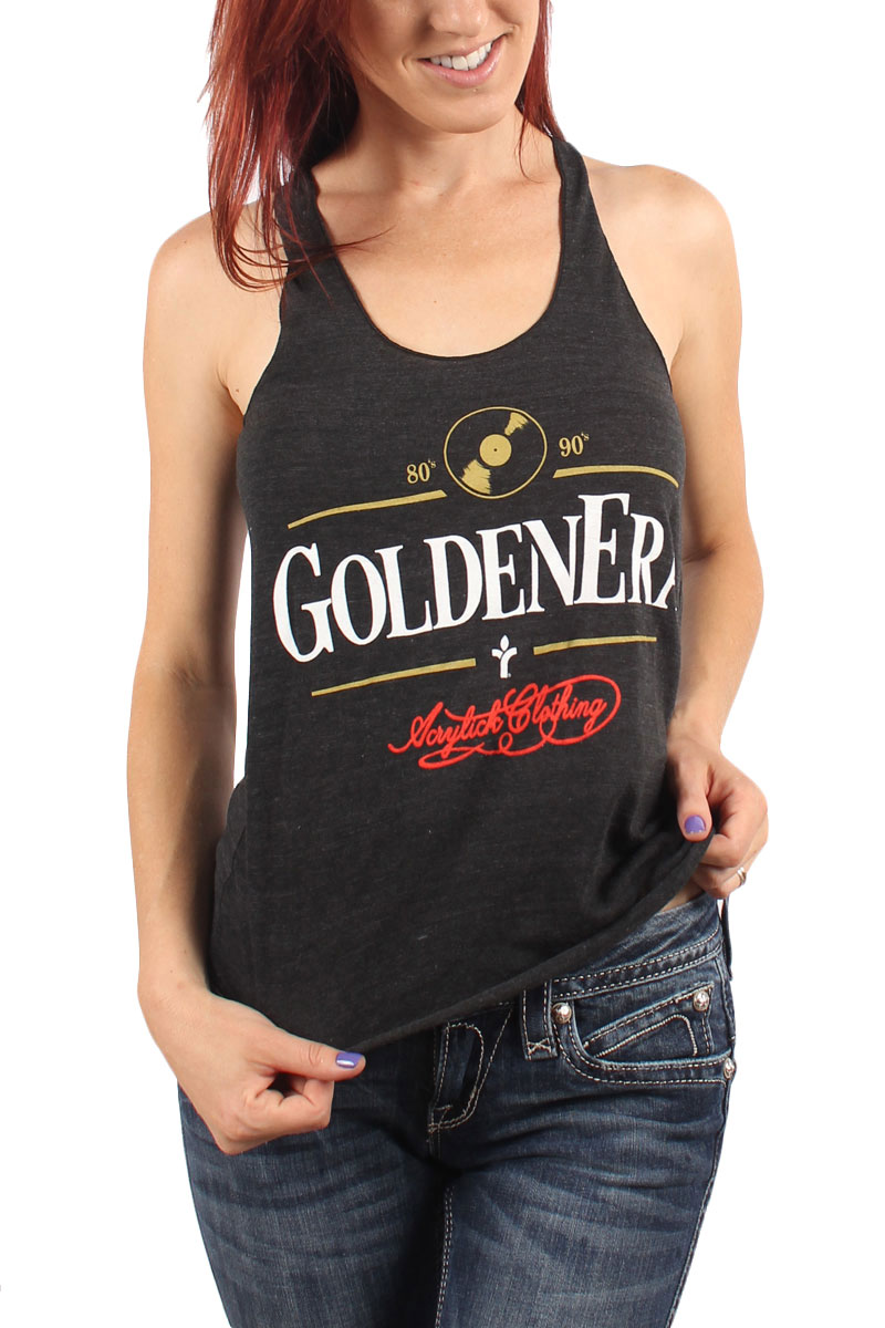 Image of Acrylick - Golden Era Womens Racerback Tank Top in Tri-Black