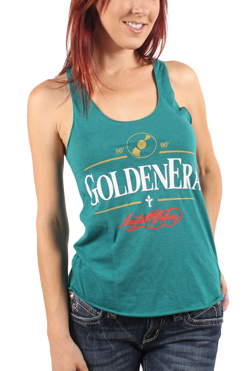 Image of Acrylick - Golden Era Womens Racerback Tank Top in Tri-Evergreen