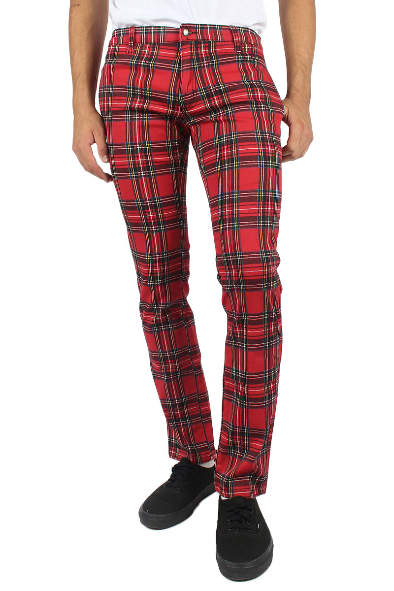 Tripp NYC - Mens Skinny Top Cat Pant In Red Plaid