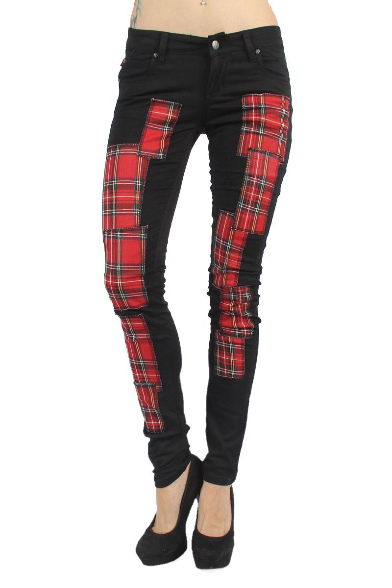 Tripp nyc womens skinny patch jean in black red tartan