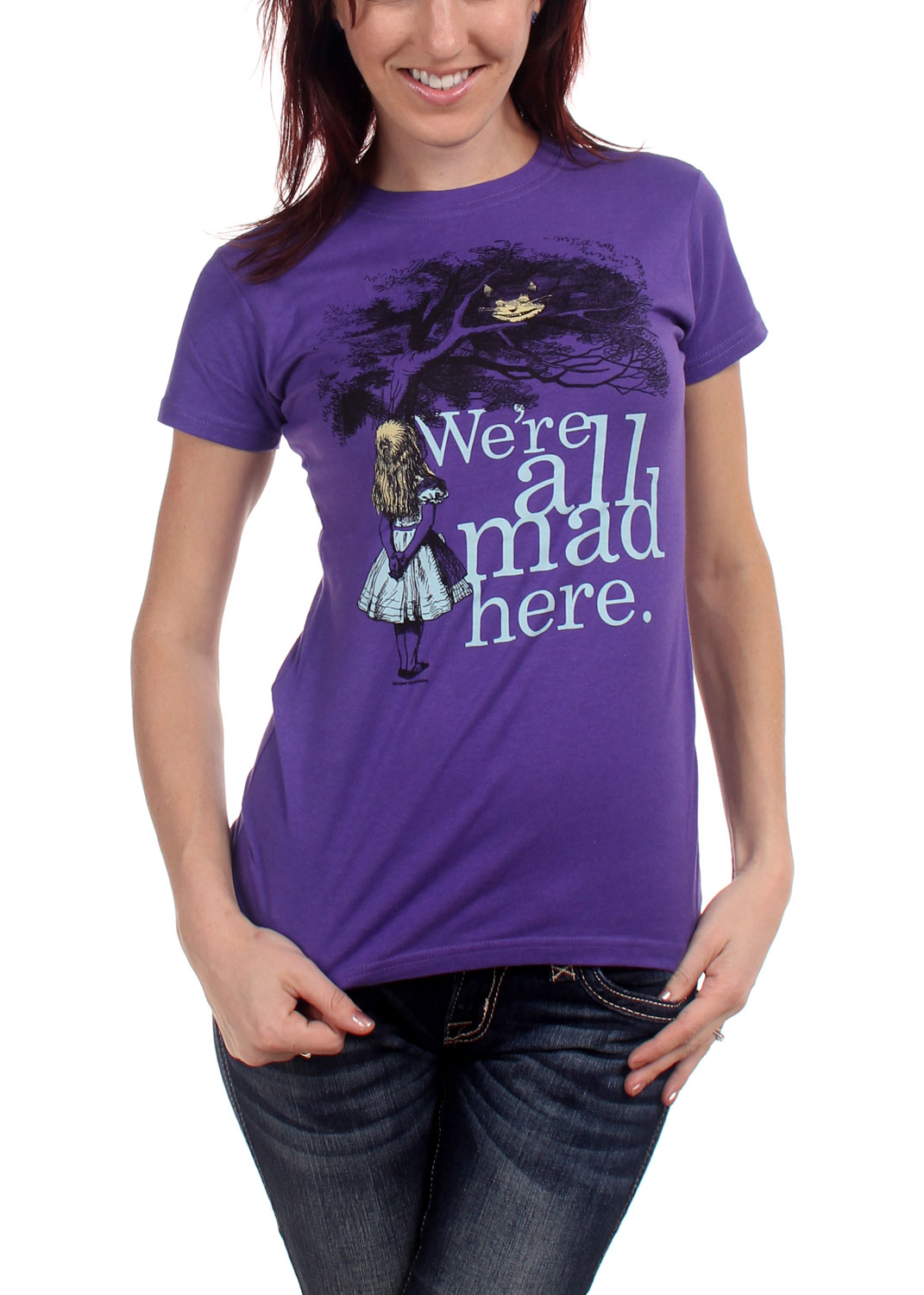 Image of Alices Adventures In Wonderland - Were All Mad Here. Womens T-Shirt In Purple