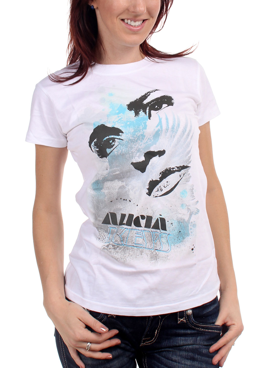 Image of Alicia Keys - Eyes And Lips Girls S/S T-Shirt In White