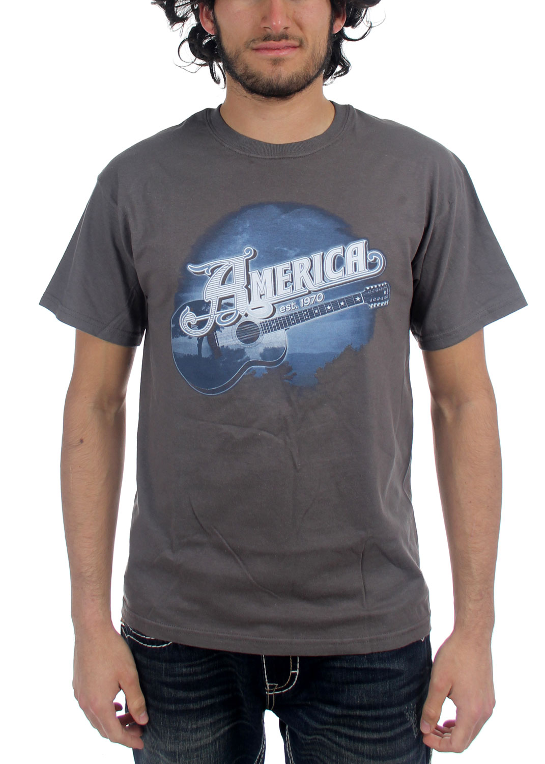 Image of America - Mens Blue Guitar T-shirt in Charcoal