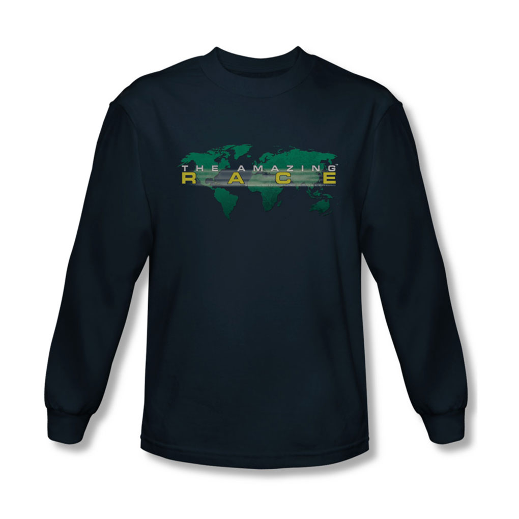 Image of Amazing Race - Mens Around The World Long Sleeve Shirt In Navy