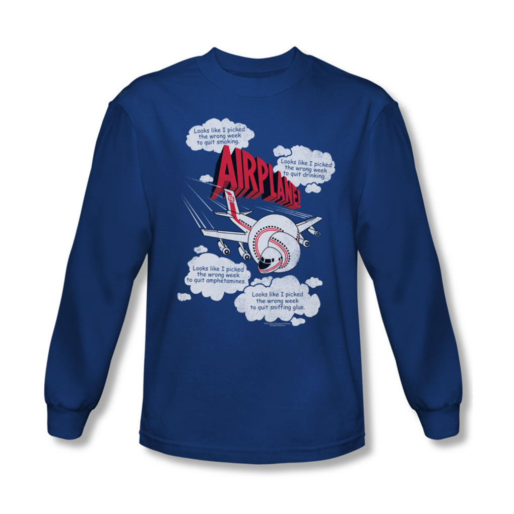 Image of Airplane - Mens Picked The Wrong Day Long Sleeve Shirt In Royal