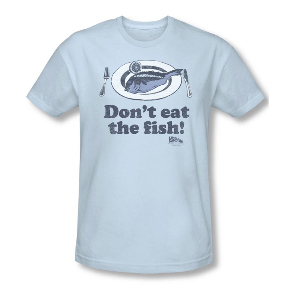 Image of Airplane - Mens DonT Eat The Fish T-Shirt In Light Blue