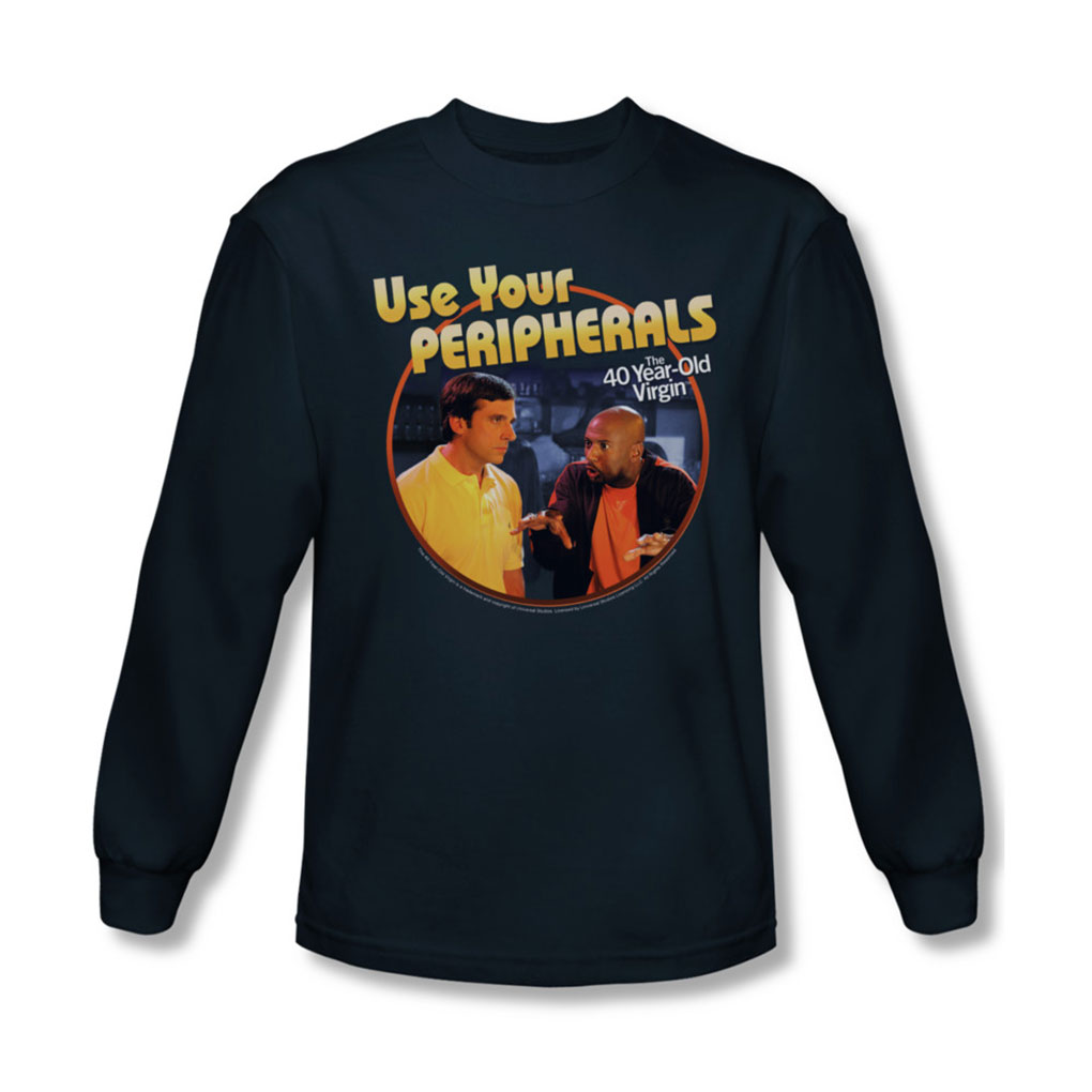 Image of 40 Year Old Virgin - Mens Use Your Peripherals Long Sleeve Shirt In Navy
