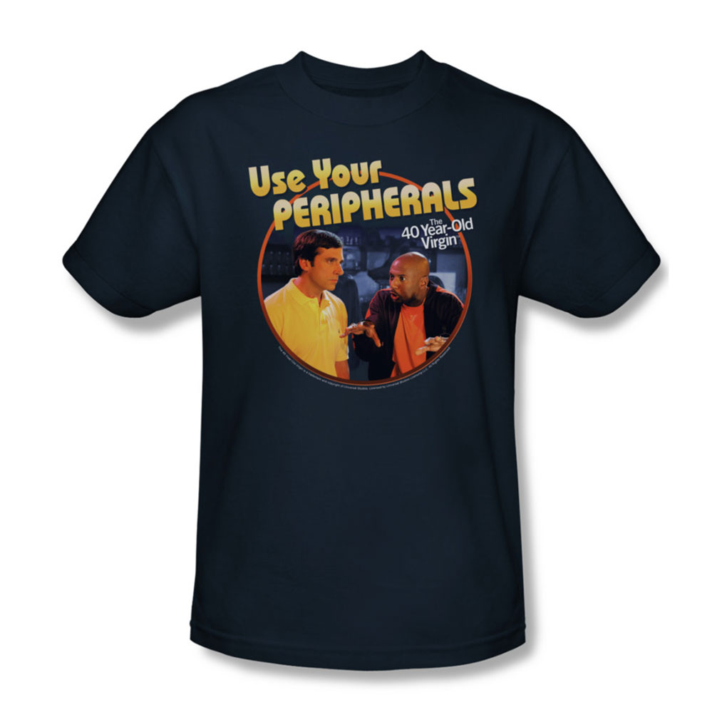 Image of 40 Year Old Virgin - Mens Use Your Peripherals T-Shirt In Navy