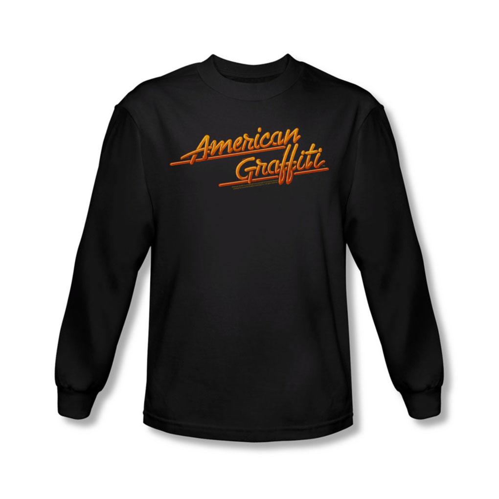 Image of American Grafitti - Mens Neon Logo Long Sleeve Shirt In Black