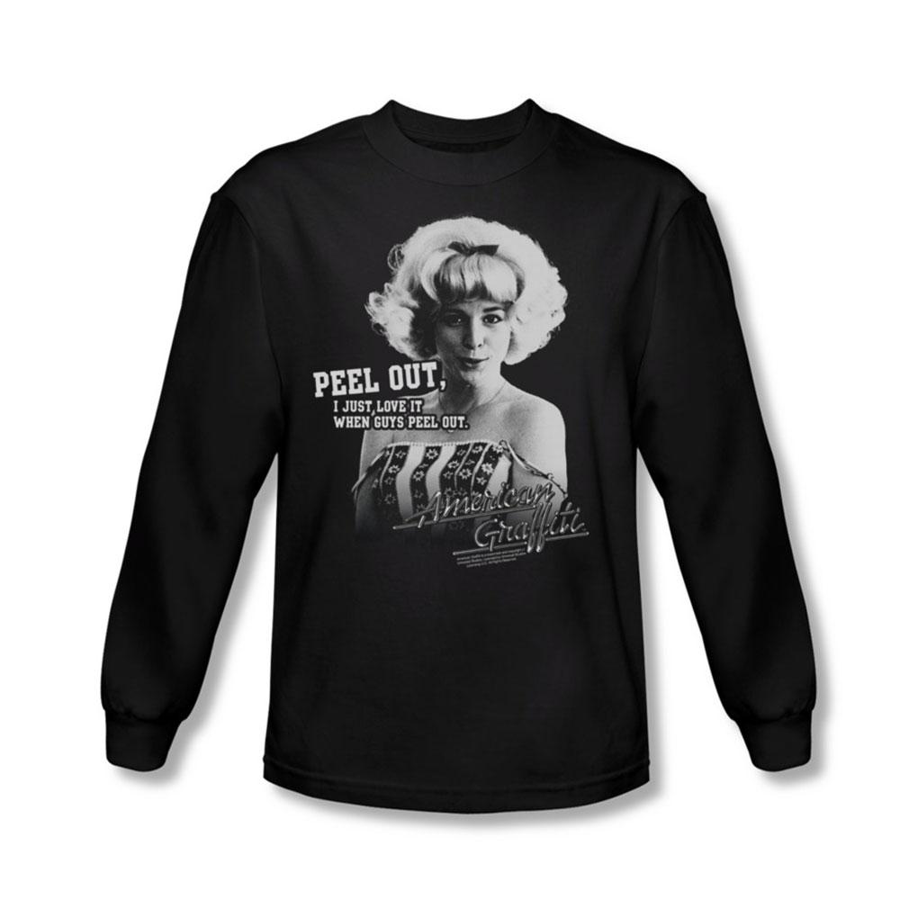 Image of American Graffiti - Mens Peel Out Long Sleeve Shirt In Black