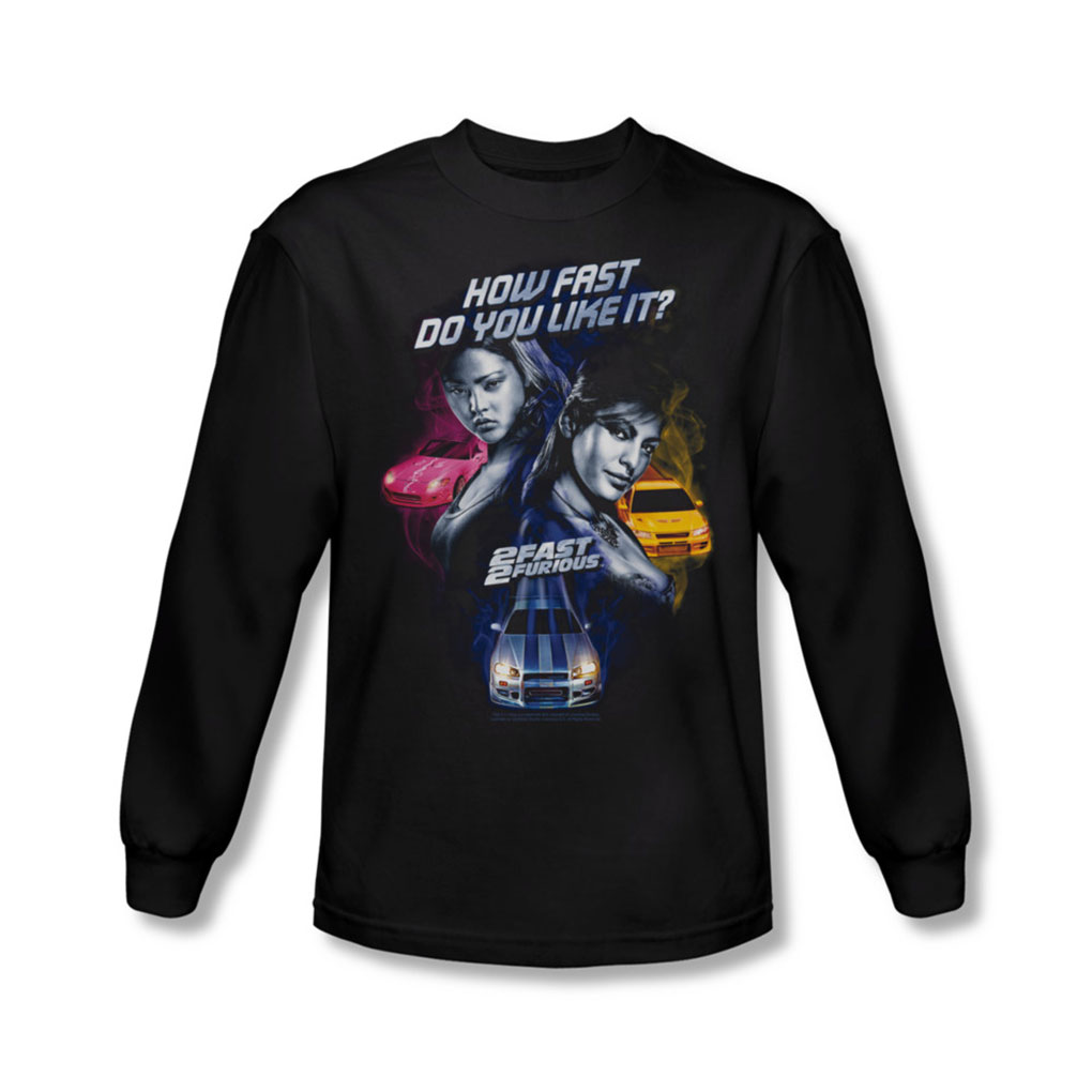 Image of 2 Fast 2 Furious - Mens Fast Women Long Sleeve Shirt In Black