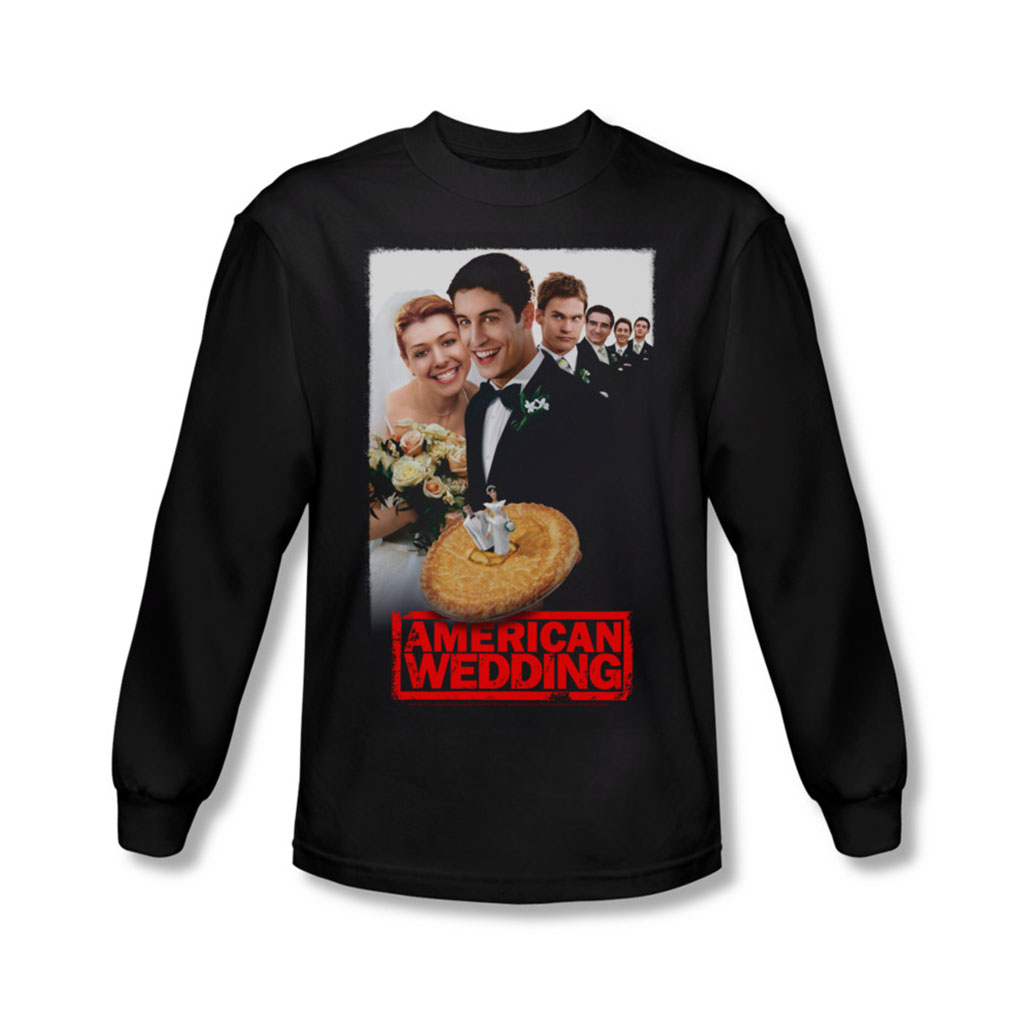 Image of American Wedding - Mens Poster Long Sleeve Shirt In Black