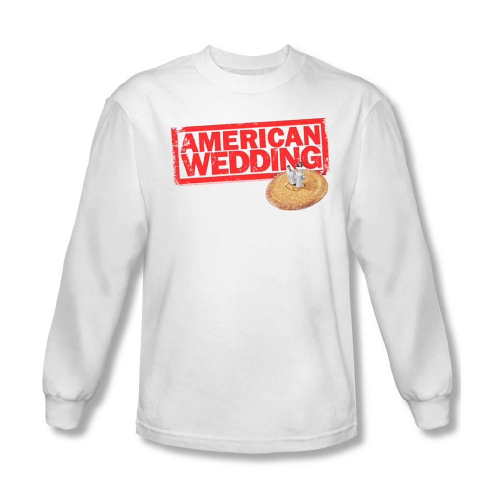 Image of American Wedding - Mens Wedding Logo Long Sleeve Shirt In White