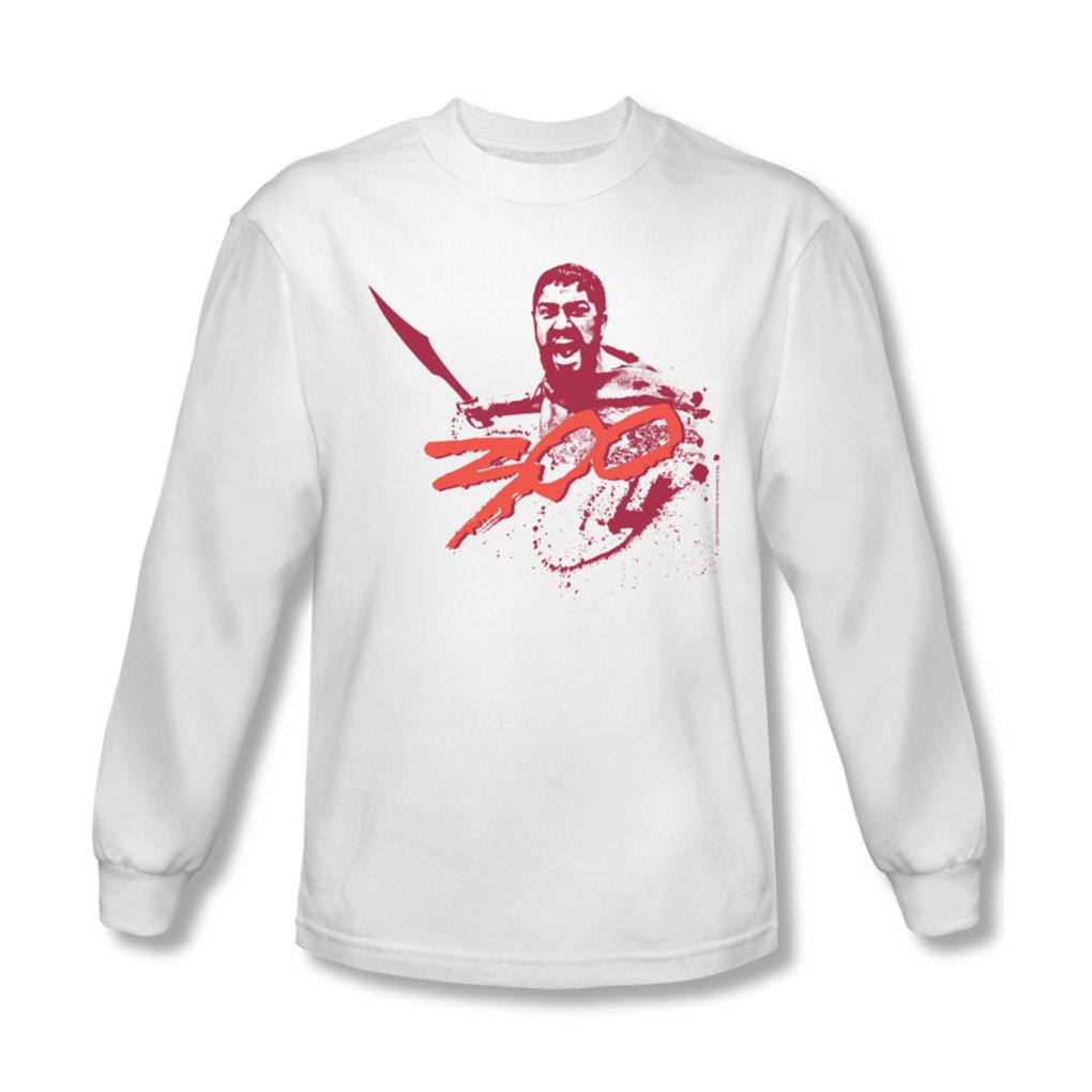 Image of 300 - Mens Logo Long Sleeve Shirt In White