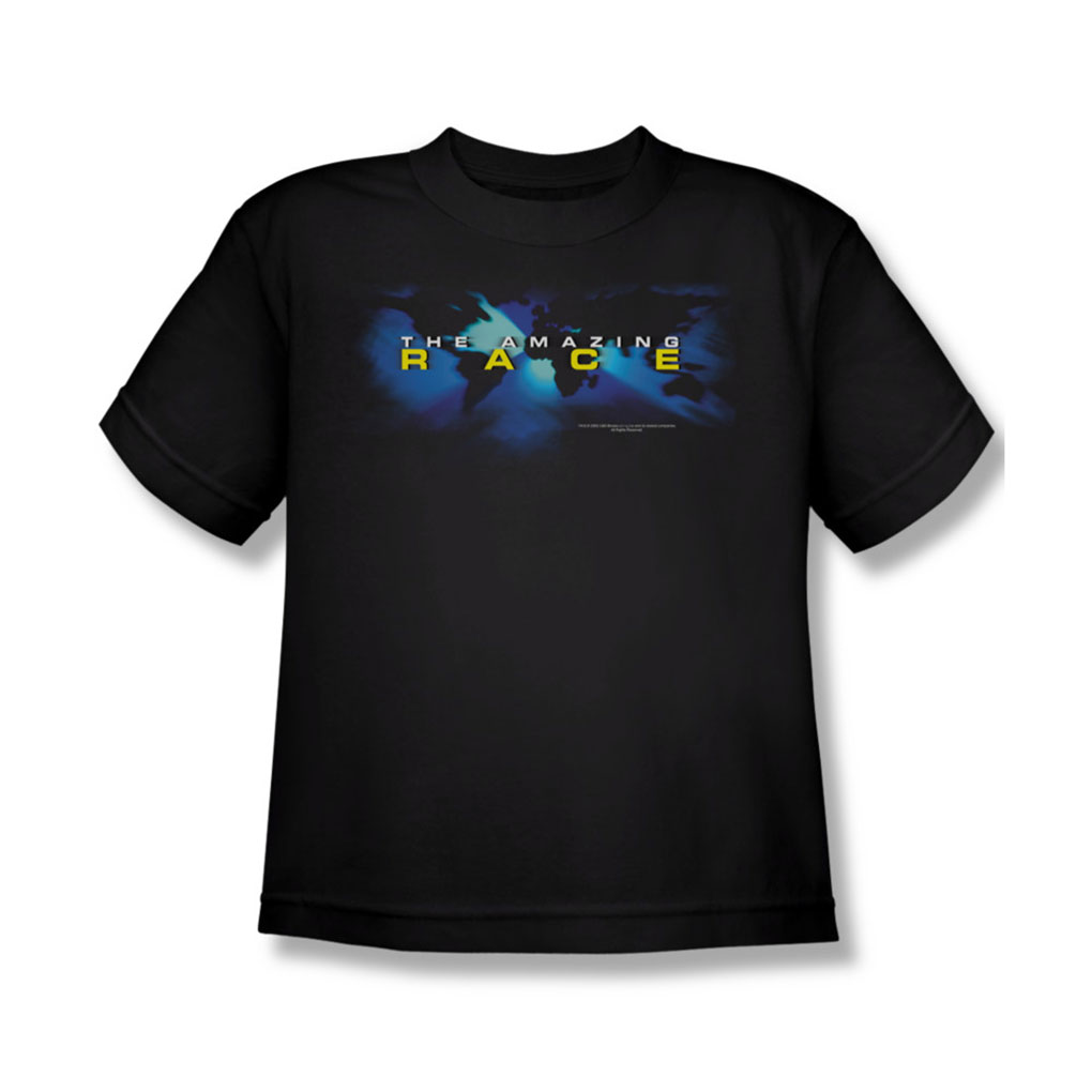 Image of Amazing Race - Faded Globe - Youth Black S/S T-Shirt For Boys