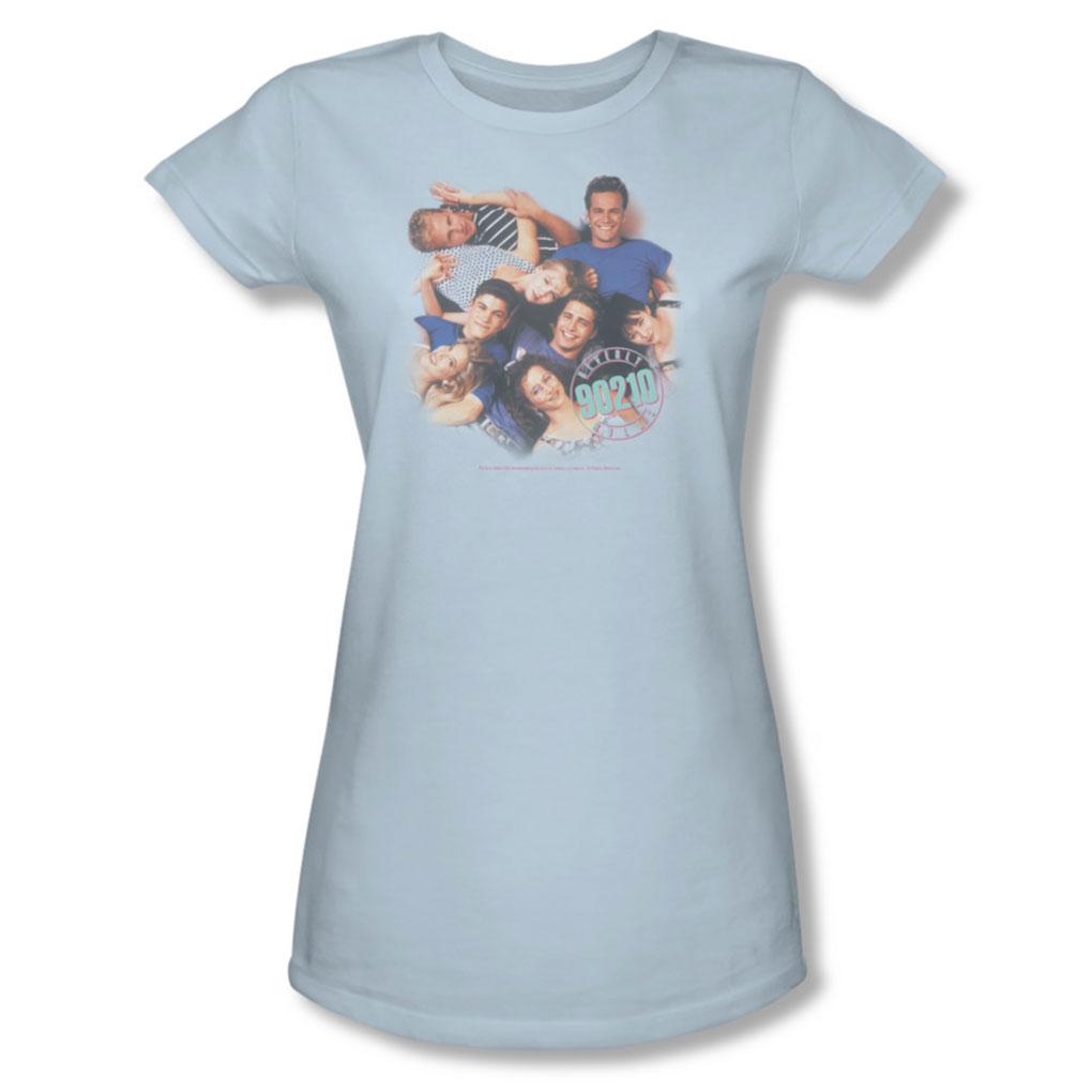 Image of 90210 - Gang In Logo - Juniors Pink Sheer Cap Sleeve T-Shirt For Women