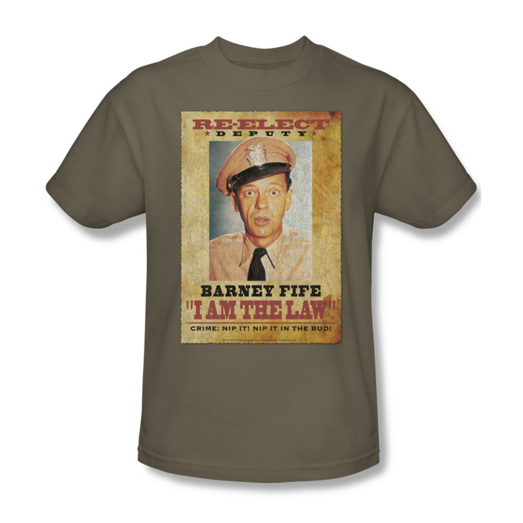 Image of Andy Griffith - I Am The Law - Adult Safari Green S/S T-Shirt For Men