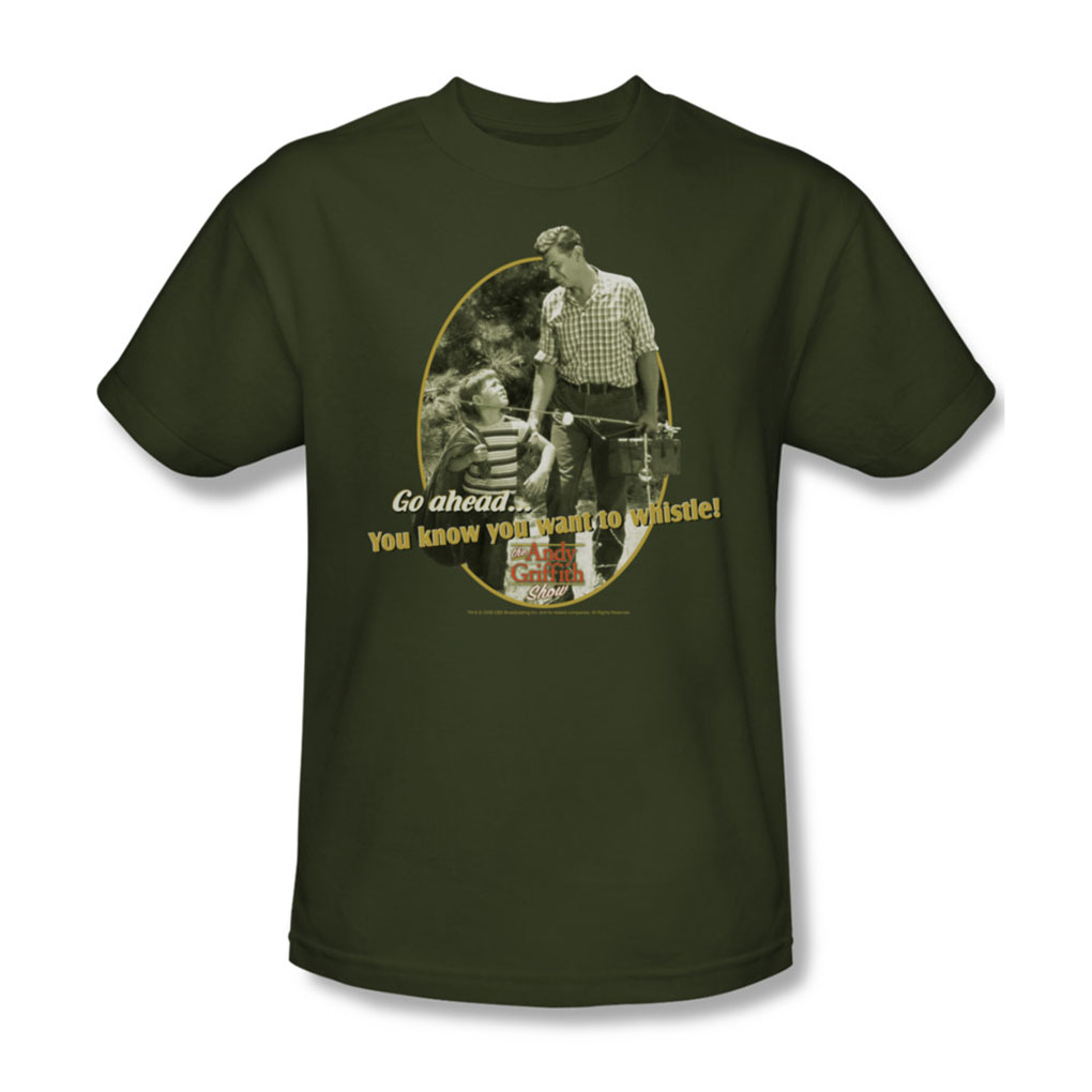 Image of Andy Griffith - Gone Fishing - Adult Military Green S/S T-Shirt For Men