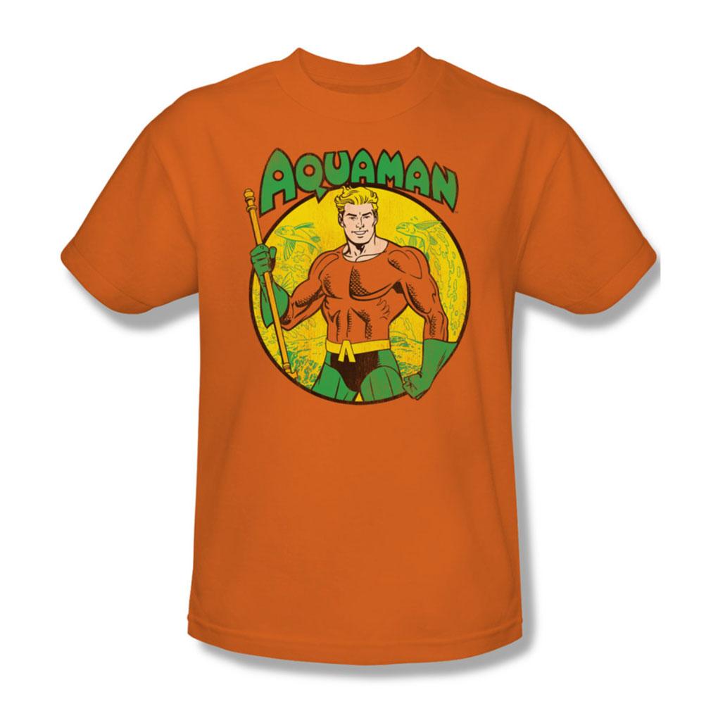 Image of Aquaman Adult S/S T-shirt in Orange by DC Comics