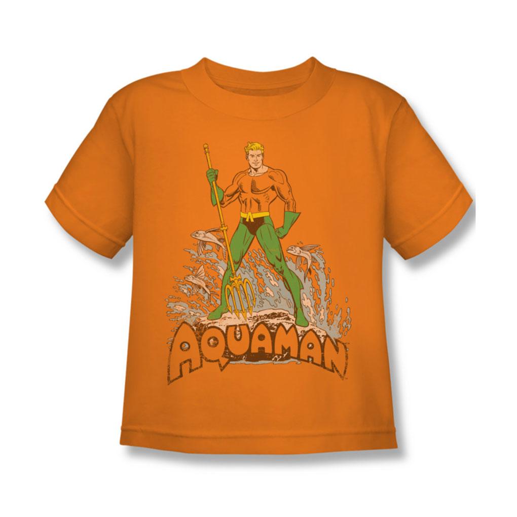 Image of Aquaman - Aquaman Distressed Juvee T-Shirt In Orange