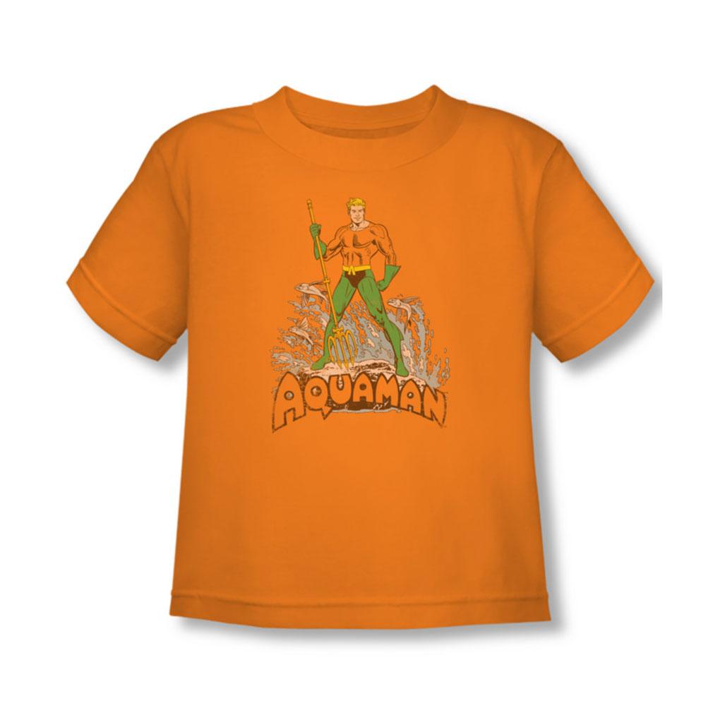 Image of Aquaman - Aquaman Distressed Toddler T-Shirt In Orange