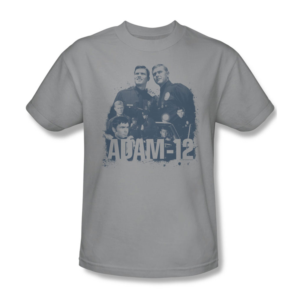 Image of Adam-12 - Adam 12 Collage Adult T-Shirt In Silver