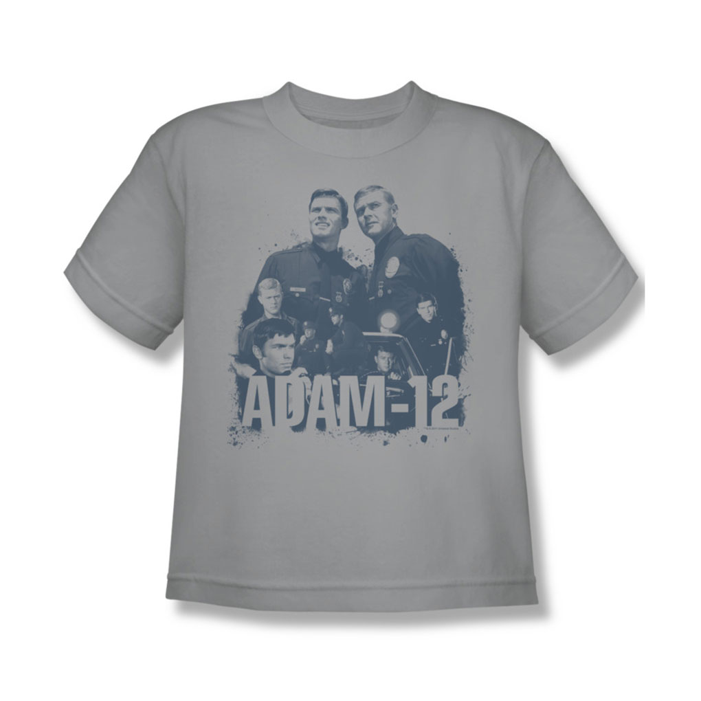 Image of Adam-12 - Adam 12 Collage Youth T-Shirt In Silver