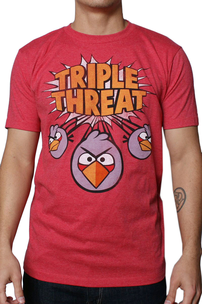 Image of Angry Birds - Triple Threat Mens T-Shirt in Heather Red
