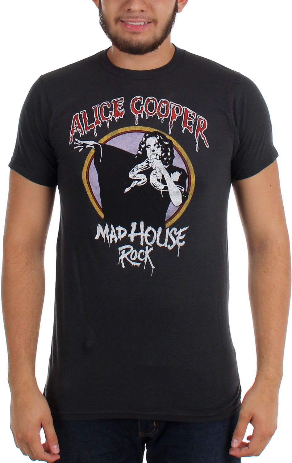 Image of Alice Cooper - Mens Madhouse Rock Slim Fit T-shirt in Charcoal