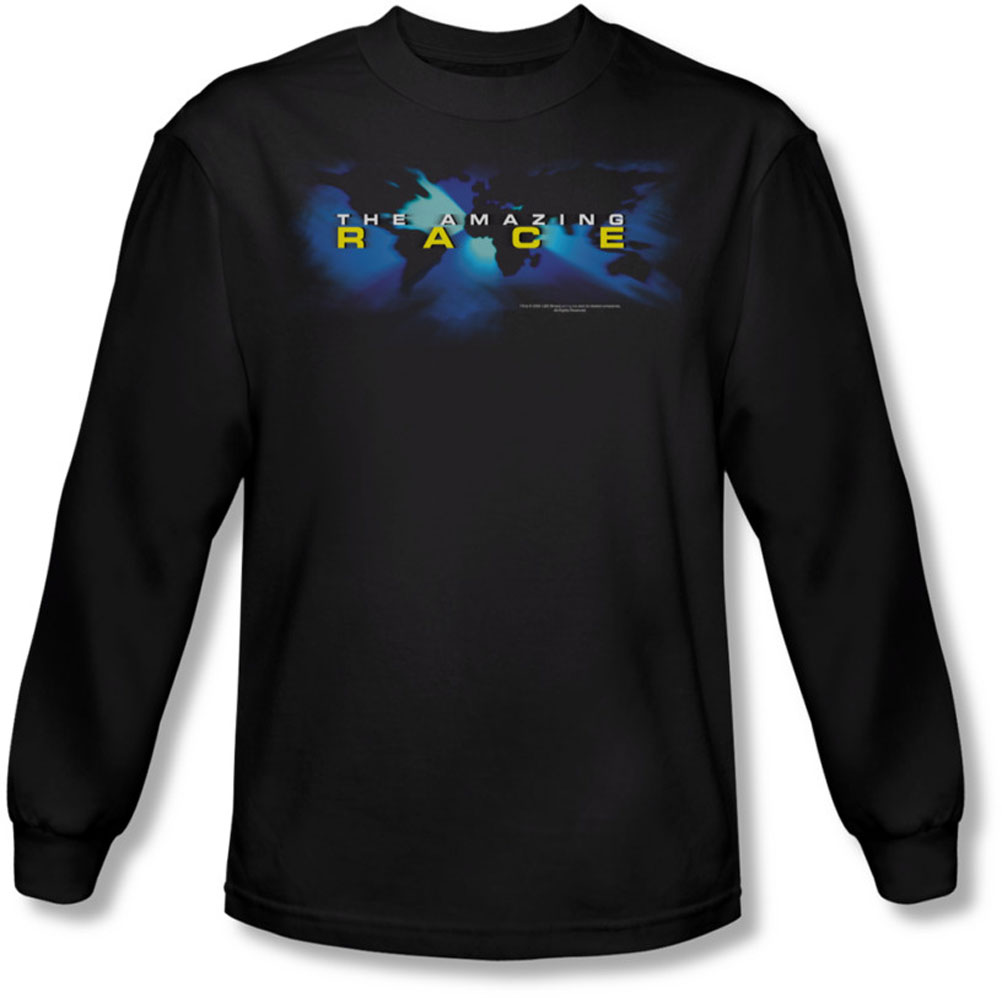 Image of Amazing Race - Mens Faded Globe Long Sleeve Shirt In Black