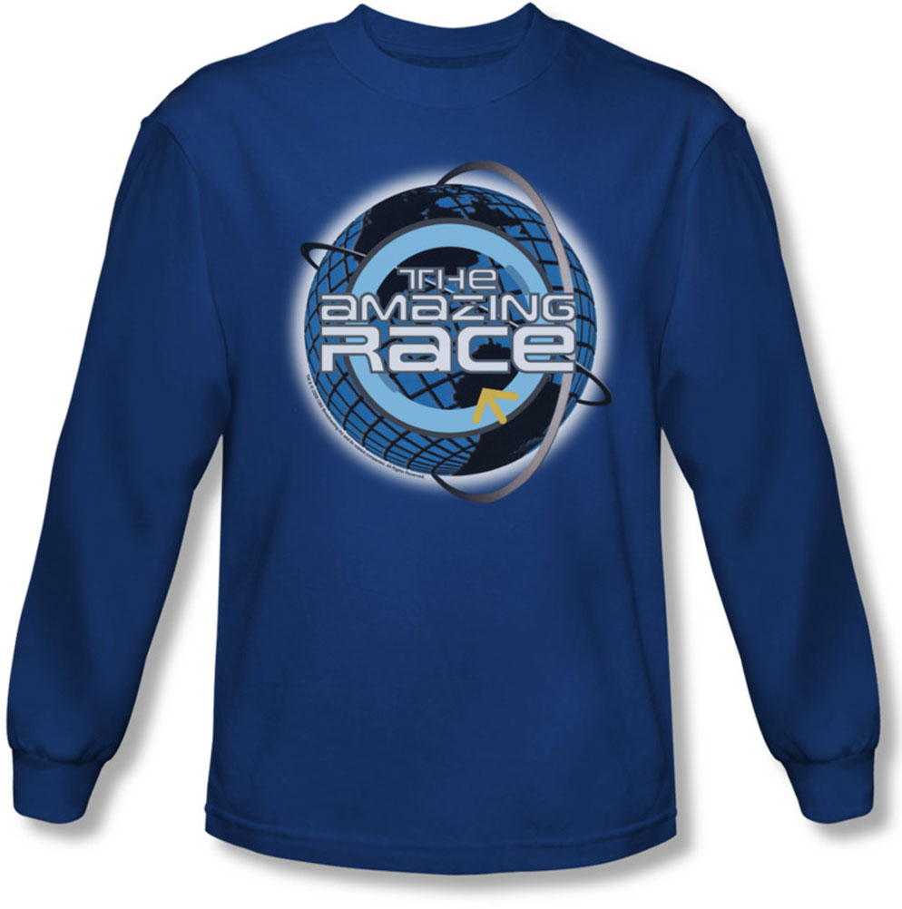 Image of Amazing Race - Mens Around The Globe Long Sleeve Shirt In Royal