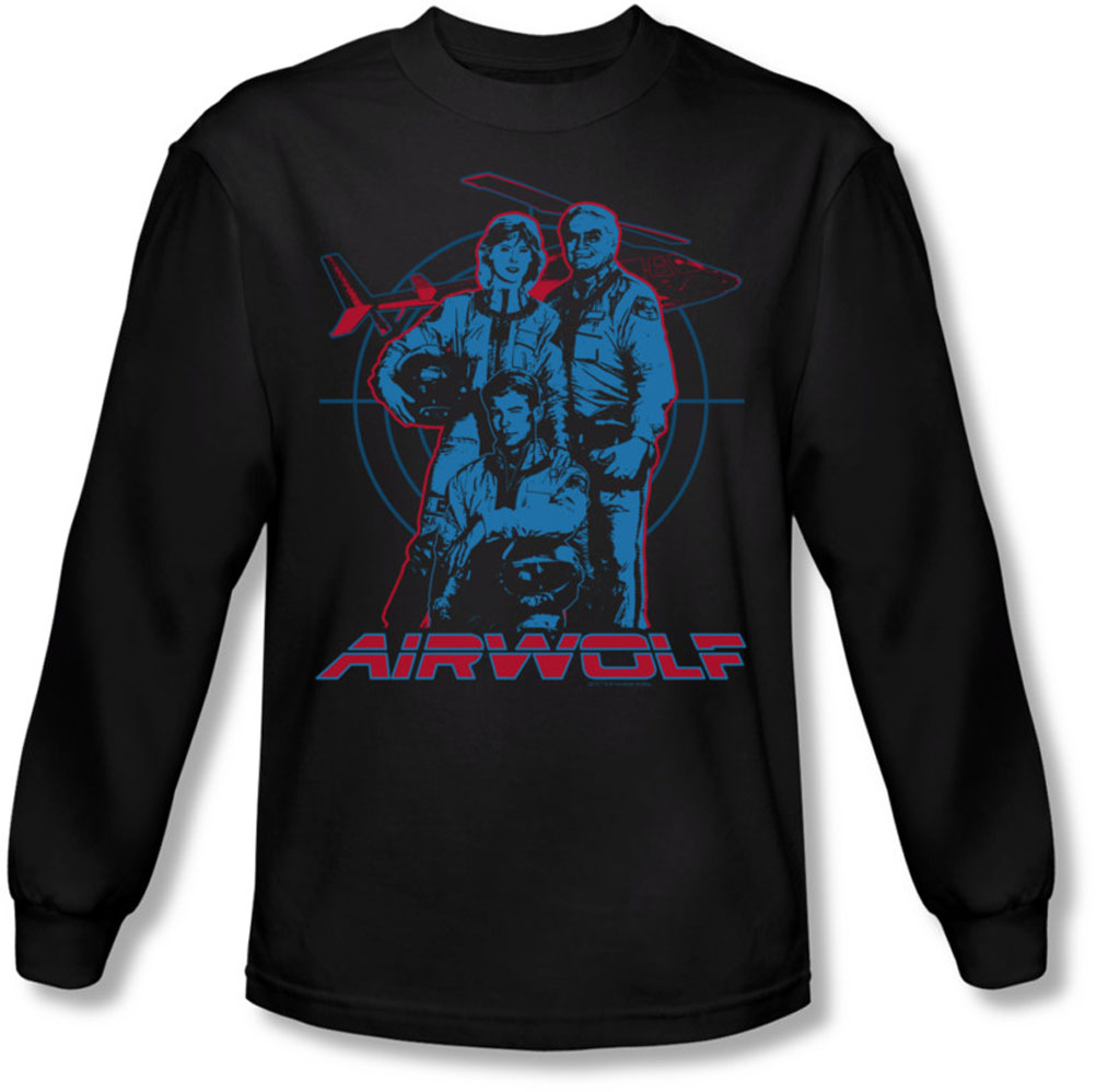 Image of Airwolf - Mens Graphic Long Sleeve Shirt In Black