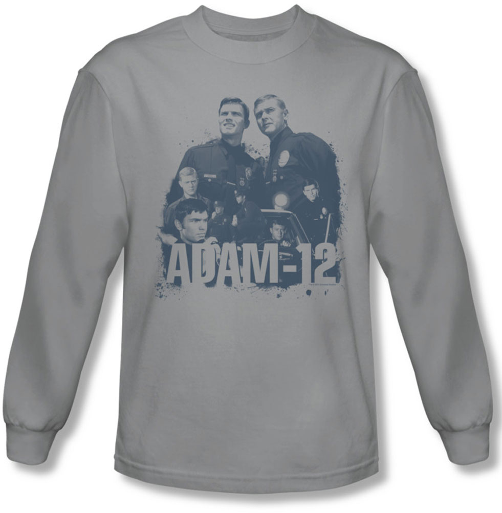 Image of Adam 12 - Mens Collage Long Sleeve Shirt In Silver