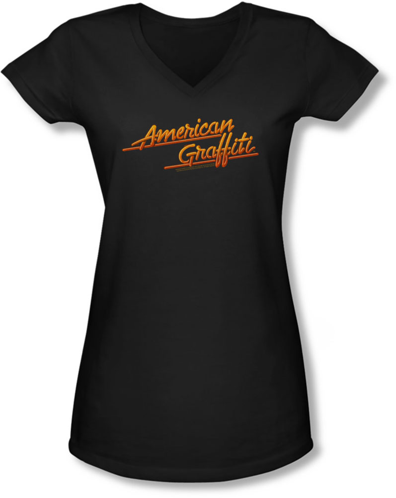 Image of American Grafitti - Juniors Neon Logo V-Neck T-Shirt