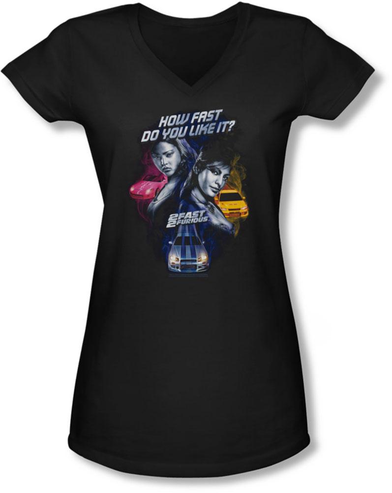 Image of 2 Fast 2 Furious - Juniors Fast Women V-Neck T-Shirt
