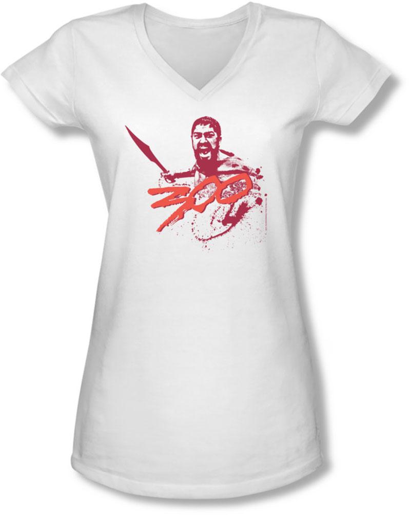 Image of 300 - Juniors Logo V-Neck T-Shirt