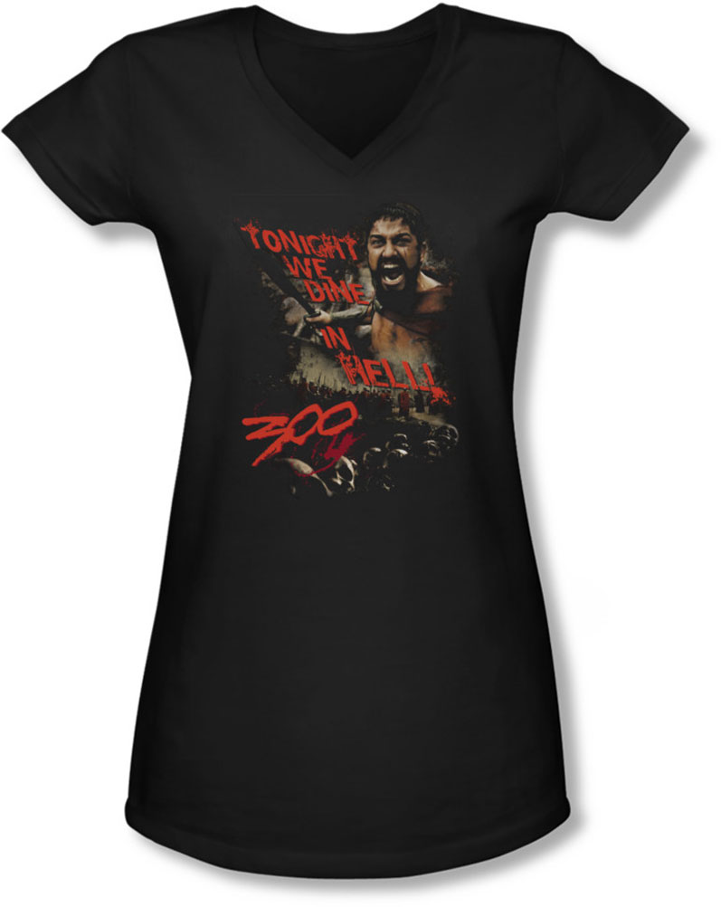 Image of 300 - Juniors Dine In Hell V-Neck T-Shirt