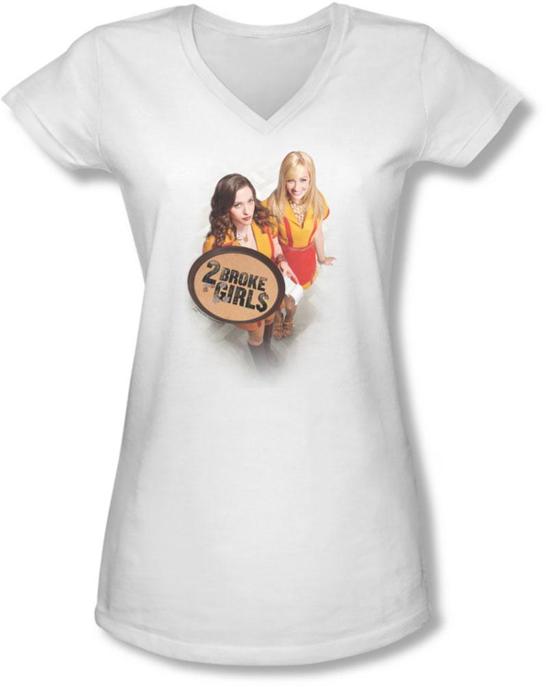 Image of 2 Broke Girls - Juniors Tips Really V-Neck T-Shirt