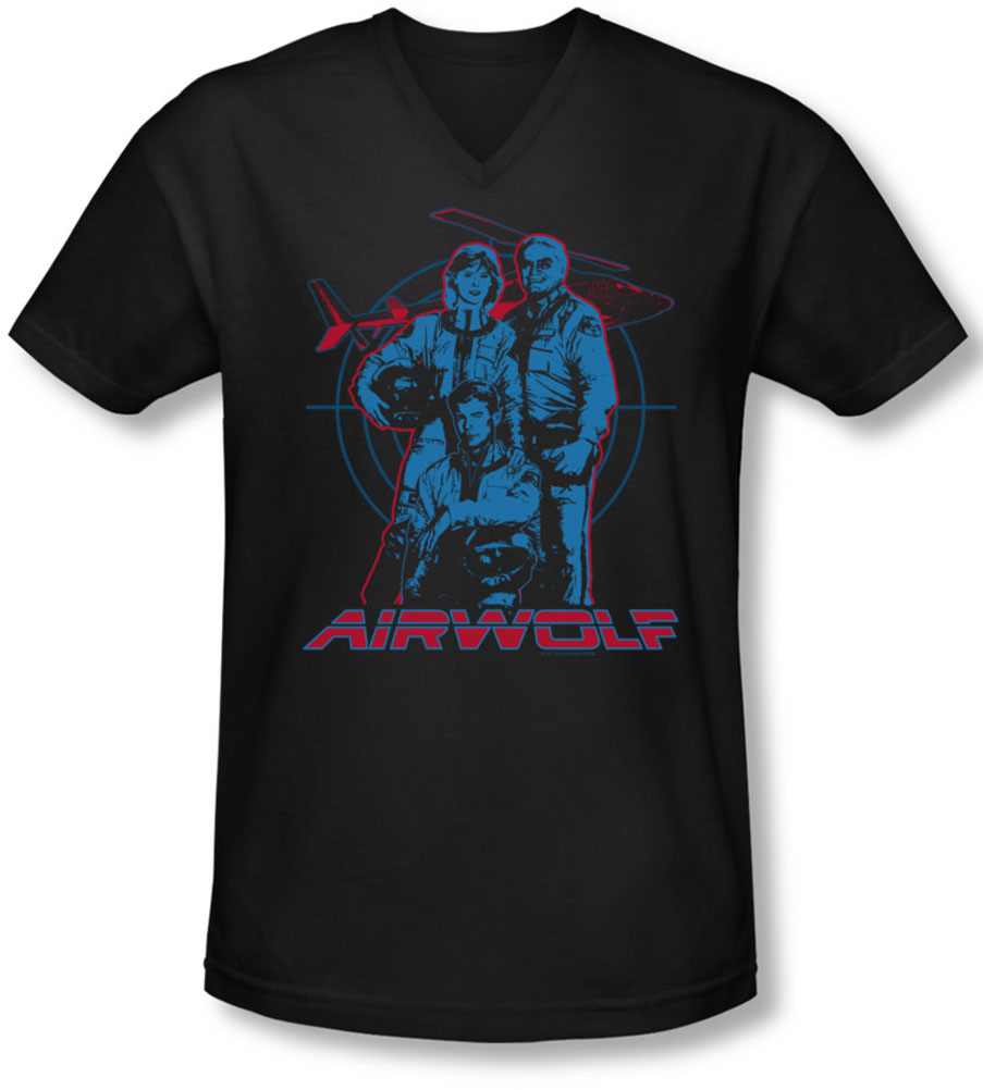 Image of Airwolf - Mens Graphic V-Neck T-Shirt